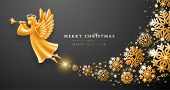 Merry Christmas And Happy New Year Greeting Card Template. Golden Angel With Wings, Nimbus And Trump poster
