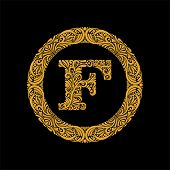 Premium, Elegant Capital Letter F In A Round Frame Is Made Of Floral Ornament. Baroque Style.elegant poster