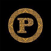 Premium, Elegant Capital Letter P In A Round Frame Is Made Of Floral Ornament. Baroque Style.elegant poster