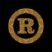 Premium, Elegant Capital Letter R In A Round Frame Is Made Of Floral Ornament. Baroque Style.elegant poster