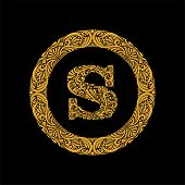 Premium, Elegant Capital Letter S In A Round Frame Is Made Of Floral Ornament. Baroque Style.elegant poster