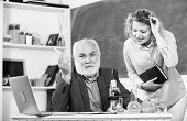 Teacher And Girl With Notepad Near Chalkboard. Biology Science. Biologist Or Chemist With Microscope poster