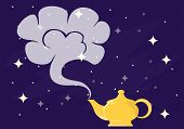 Magic Lamp Aladdin With Gin. Gin From The Magic Lamp. Vector Illustration Of A Magical poster
