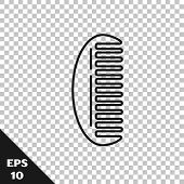 Black Line Hairbrush Icon Isolated On Transparent Background. Comb Hair Sign. Barber Symbol. Vector  poster