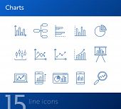 Charts Line Icon Set. Diagram, Presentation, Statistical Report Isolated Outline Sign Pack. Graph, A poster