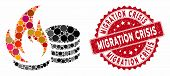 Mosaic Coins Fire Disaster And Rubber Stamp Seal With Migration Crisis Caption. Mosaic Vector Is Des poster