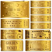 stock photo of raffle prize  - Gold luxury cinema and sale ticket vectors - JPG