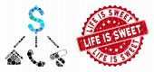 Mosaic Life Expenses And Distressed Stamp Seal With Life Is Sweet Text. Mosaic Vector Is Designed Fr poster