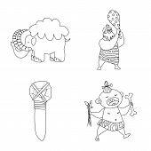 Vector Illustration Of Primitive And Archeology Symbol. Collection Of Primitive And History Stock Ve poster