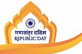 Concept Of Indian Holiday Republic Day With Inscription Republic Day In English And Hindi. Constitut poster