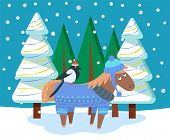Horse Character Wearing Sweater And Hat Stand With Bird Near Fir-tree. Winter Holiday Postcard With  poster