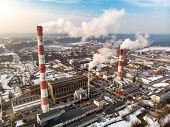 Aerial View Of Heating Plant And Thermal Power Station. Combined Power Station For City District Hea poster