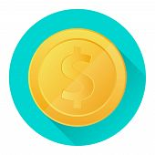 Gold Coin. Realistic Gold Coin On A Green Background With A Shadow. Cartoon Vector Illustration Of A poster