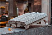 Old Stone Open Book Monument In The Most Famous Cemetery Of Paris Pere Lachaise, France. Tombs Of Va poster