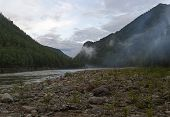 Low Clouds In A Mountain Gorge. The Beginning Of The Orkho-bom Gorge, Along This Gorge The Sayan Oka poster
