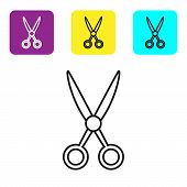 Black Line Scissors Hairdresser Icon Isolated On White Background. Hairdresser, Fashion Salon And Ba poster