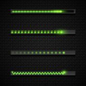 Download Progress 3d  Illustration. Futuristic Green Neon Loading Bar Icon Collection. Set Of Downlo poster