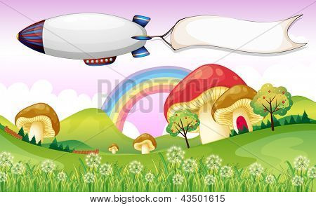 Illustration of a blimp carrying an empty banner