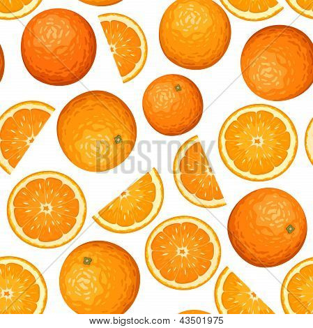 Seamless background with oranges. Vector illustration.