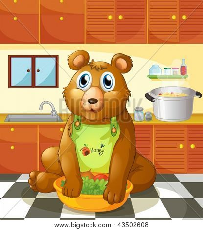 Illustration of a bear holding a bowl of vegetables inside the kitchen