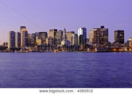 Massachusetts, Boston Skyline At Dawn