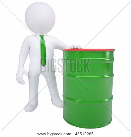 3d white man and a green barrel