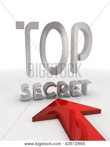 Metallic Top secret symbol  with a red arrow