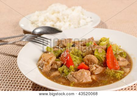 Pork Brocoli With Rice