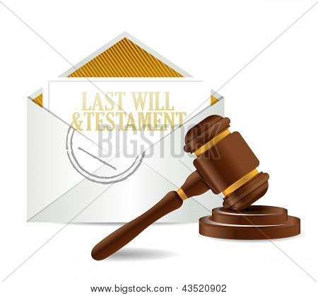 Last Will And Testament Document Papers And Gavel