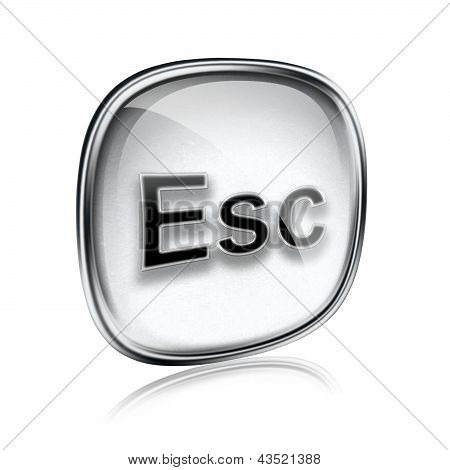 Esc Icon Grey Glass, Isolated On White Background