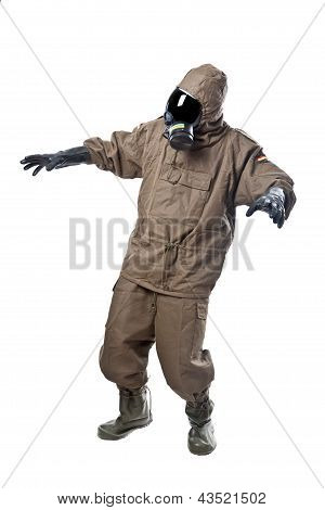 Man In Hazard Suit Scared