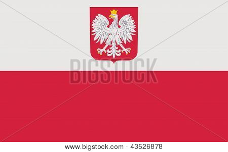 Polish Flag With Coat Of Arms.