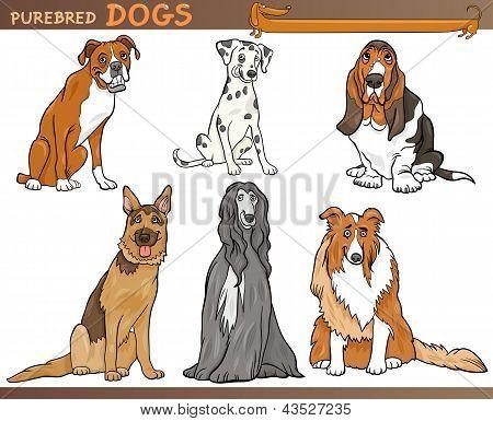 Ilustración conjunto de dibujos animados de perros de pura raza