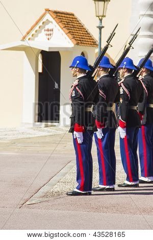 Militars performing the Change of Guard in Monaco