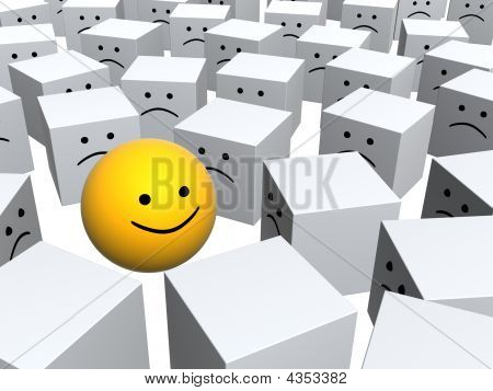 Bright Sphere With Smile In Row Of Grey Boxes