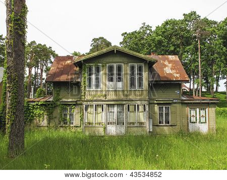 Traditional Wooden House In Jurmala Latvia