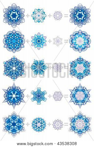 Snowflakes layered with ornaments