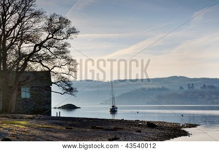 Boathouse on the shore of Lake Windermere