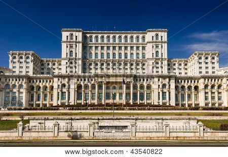 Parliament Of Romania Building Facade, Bucharest