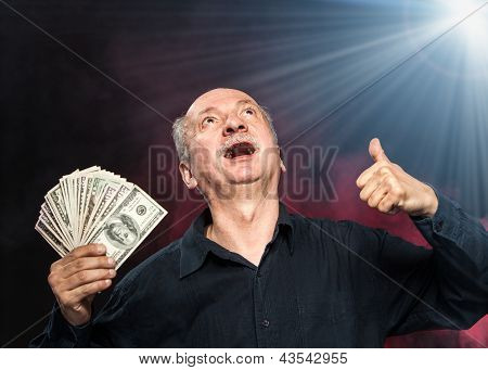 Old Man With Dollar Bills