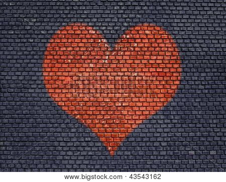 Heart On Old Brick Wall