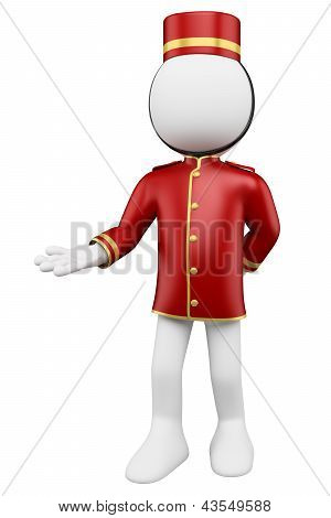 3D White People. Bellboy Welcoming