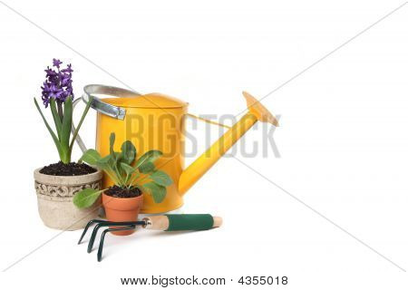 Spring Time Gardening With Watering Can, Trowel And Plantings