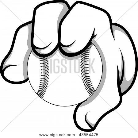 Cartoon Hand - Baseball - Vector Illustration