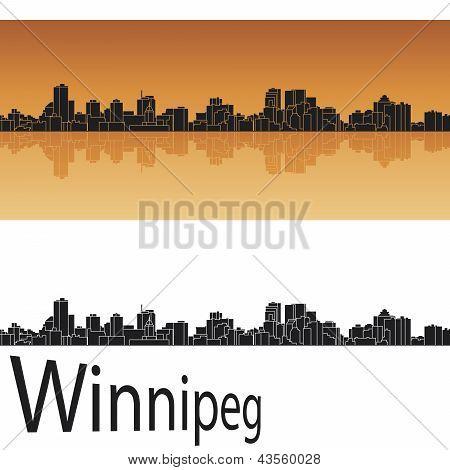 Winnipeg Skyline In Orange Background