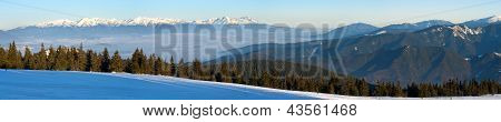 wintry view of High Tartas mountains from Fatra mountains