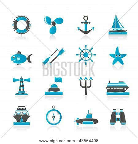 Marine and sea icons