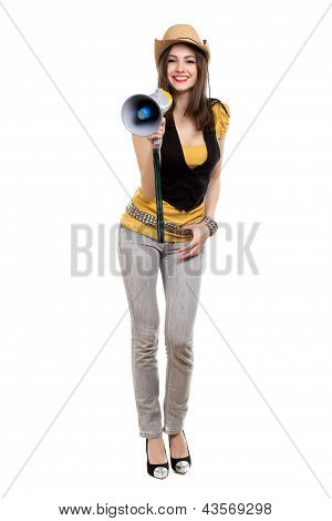 Brunette With A Loudspeaker