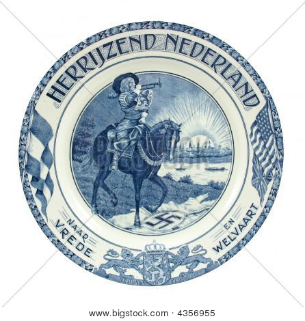 Dutch Delft Blue Plate Of Liberation Of Holland Wo Ii