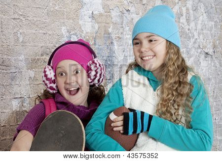 Portrait Of Cheerful Teenage Girls